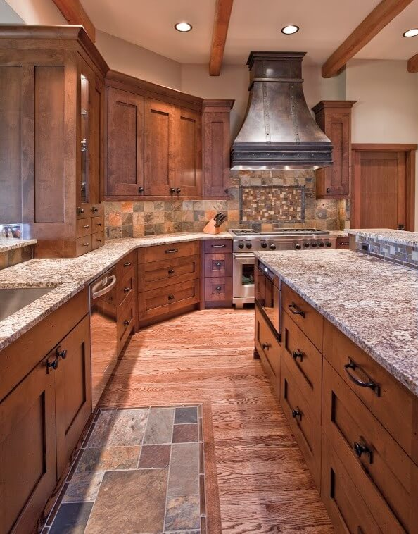 Large Kitchen In Wood Tones