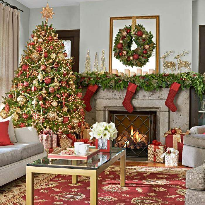 Living Room Decor In Red Gold