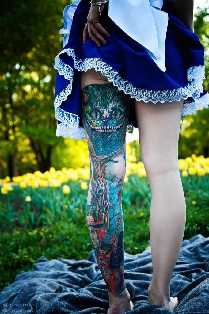 Alice in Wonderland Leg Sleeve Tattoo