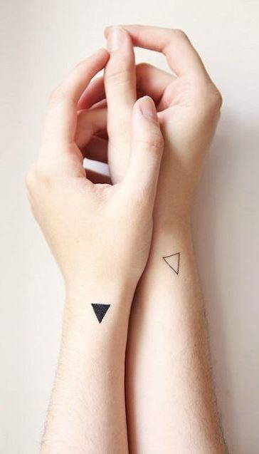 Minimalist Triangle Couple Tattoo