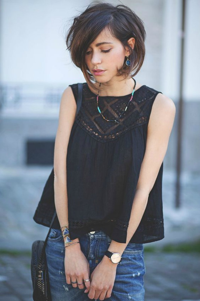 Dark Layered Bob Short Haircut