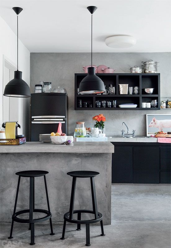 Black And Concrete Kitchen