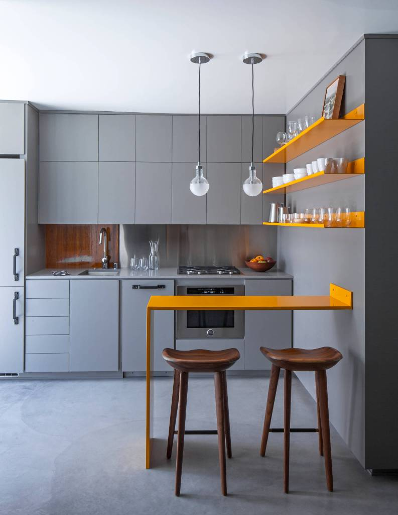 Contemporary Concrete Floor Gray Kitchen