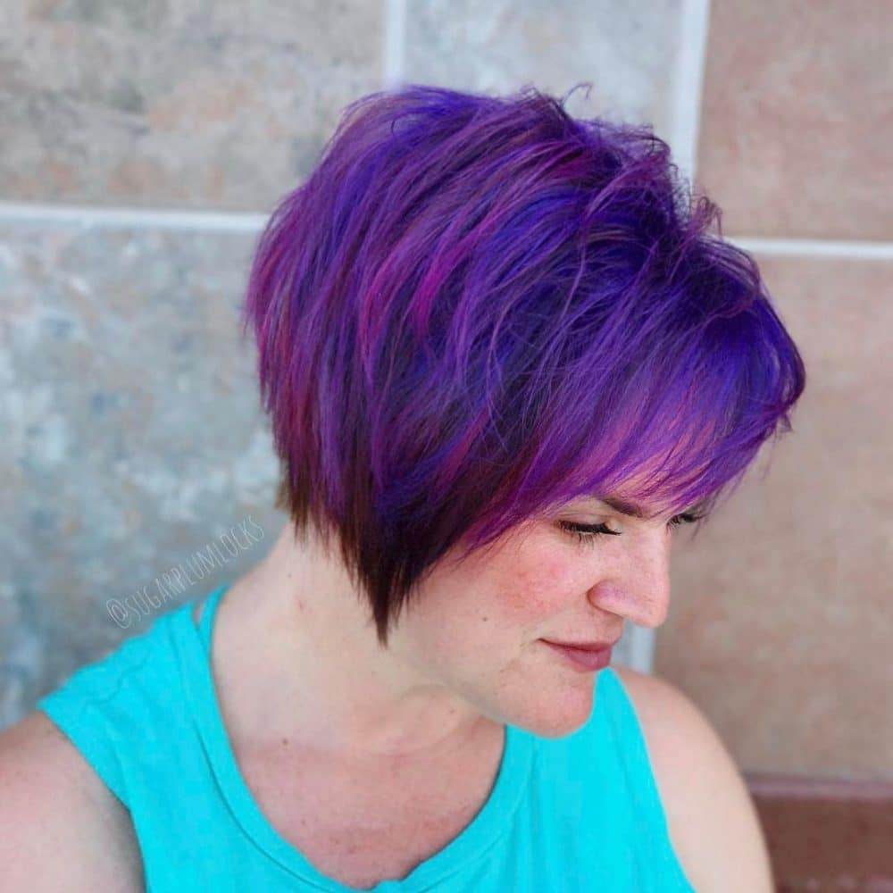 Purple Highlights on Black Hair