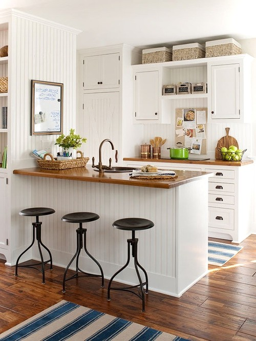 Vertical Pattern White Wooden Panels This Kitchen Design