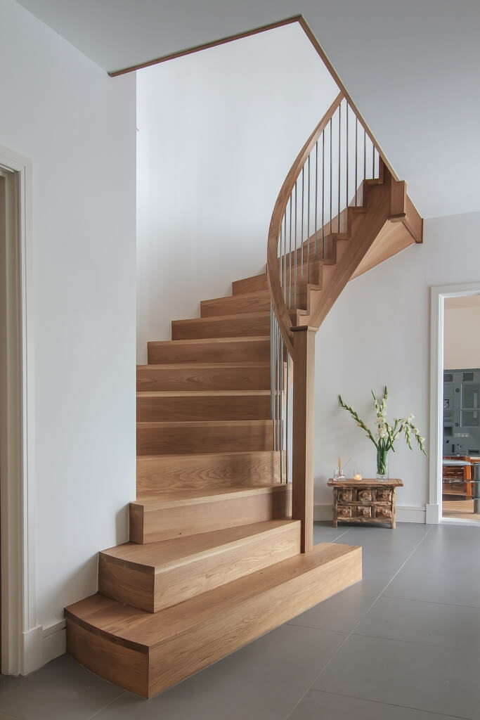 American Preston Cut-stringer Curved Stair Design