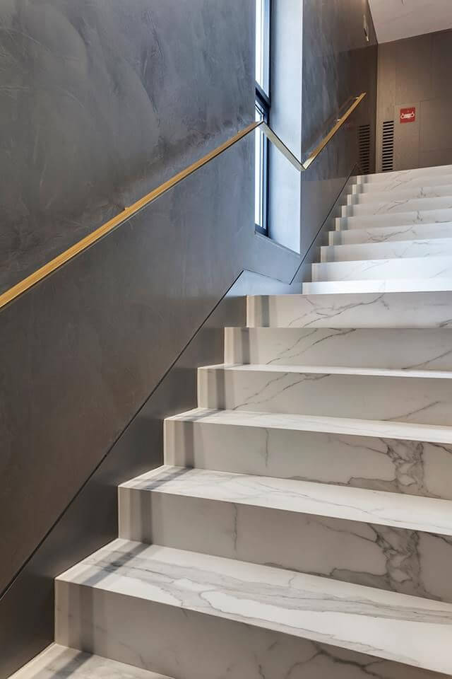 Attractive White Marble Stair Design