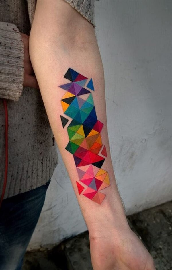 Bold Color Different Triangles Tattoo