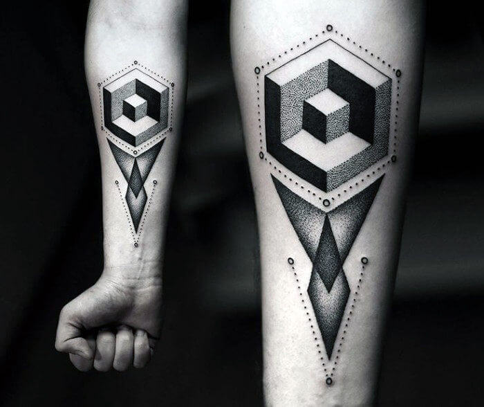 Breathtaking Geometric Box Tattoo Design