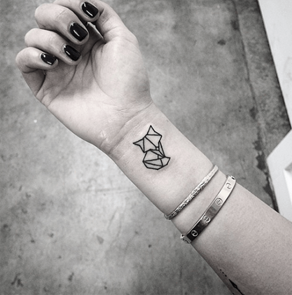 Cute Simple Small Fox Wrist Tattoo