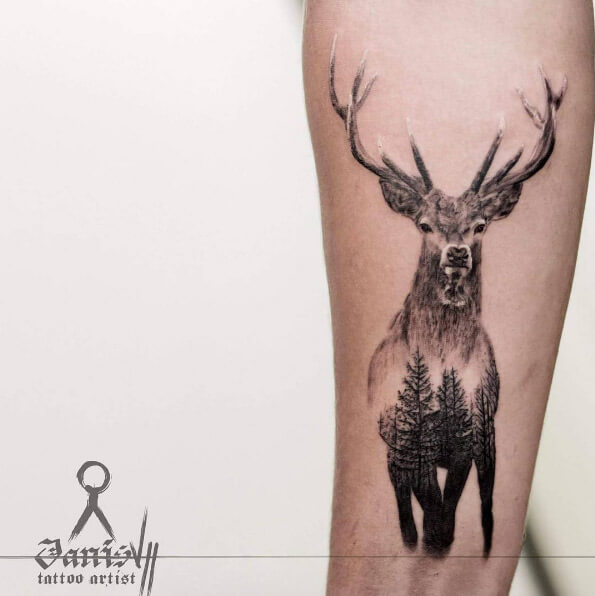 Double Exposure Stag Tree Deer Tattoo