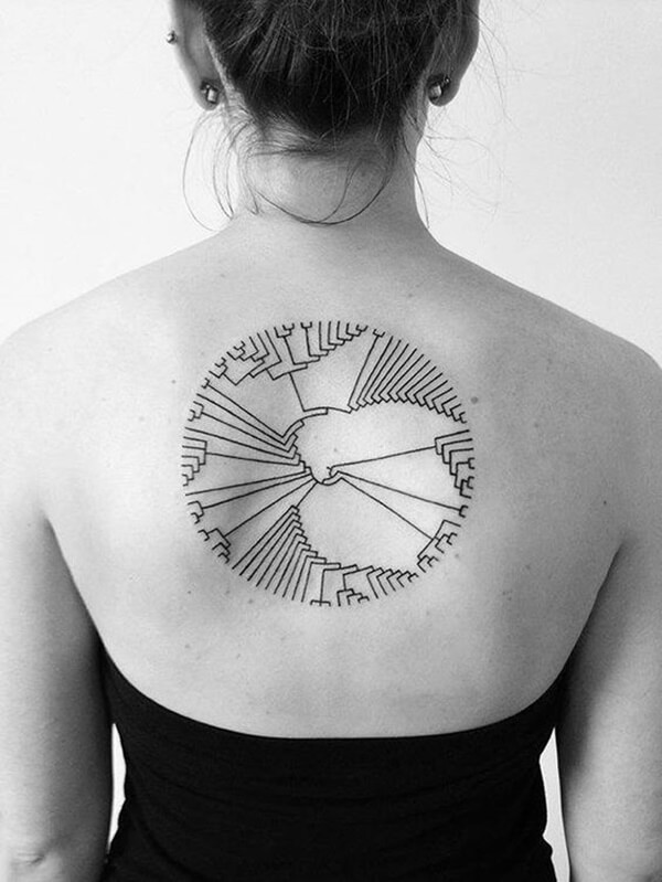 Girls Back Tattoo Abstract Circle