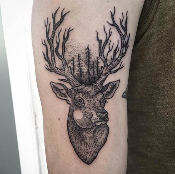 Line and Dotwork Tree Deer Tattoo Side Arm