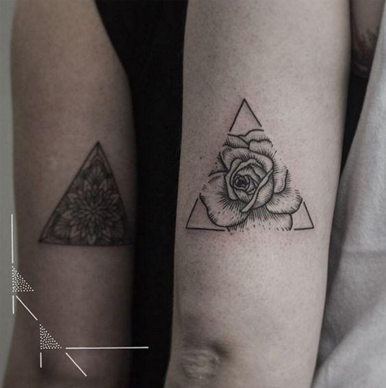 Triangle Flowers Couple Tattoo
