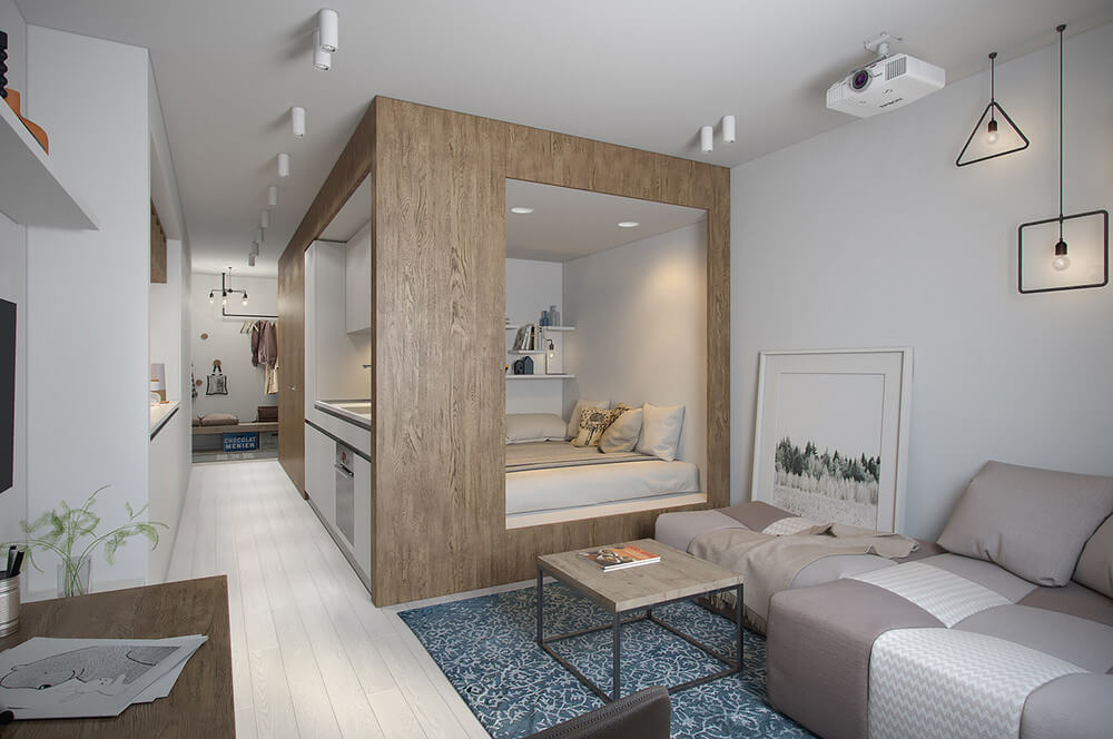 Tiny Apartment With Light Interior Design Under 30 Square Meters