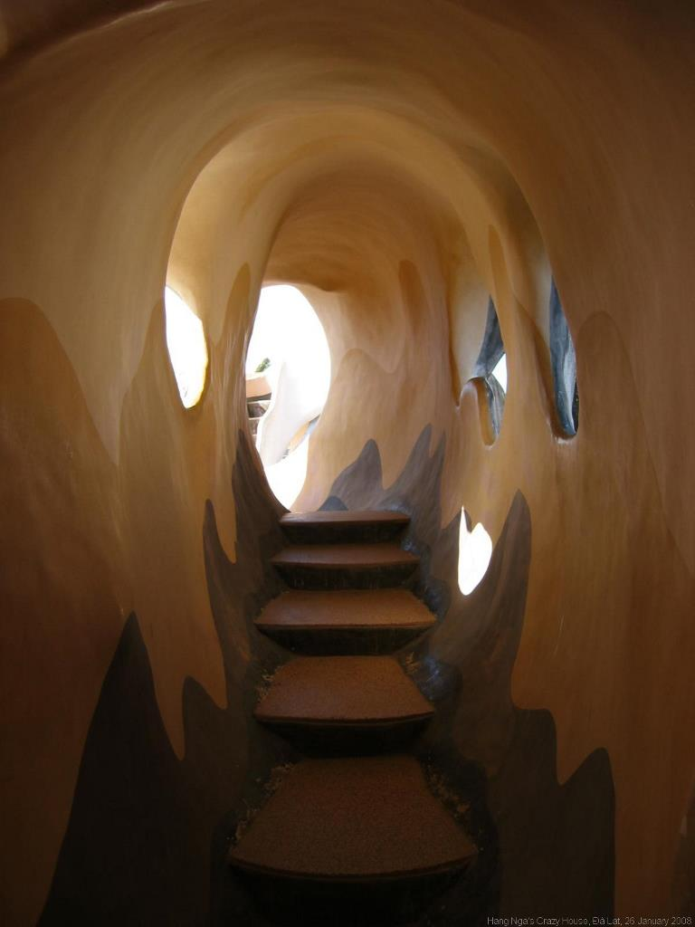 A cave-shaped stairway