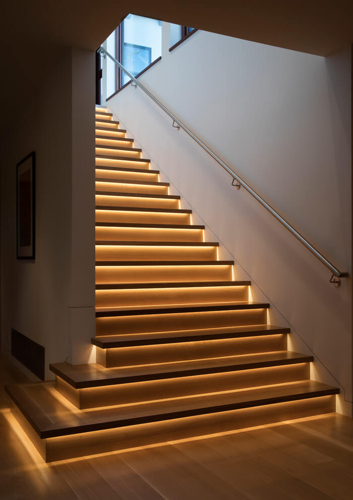Classic Golden Light for a Stylish Stairway