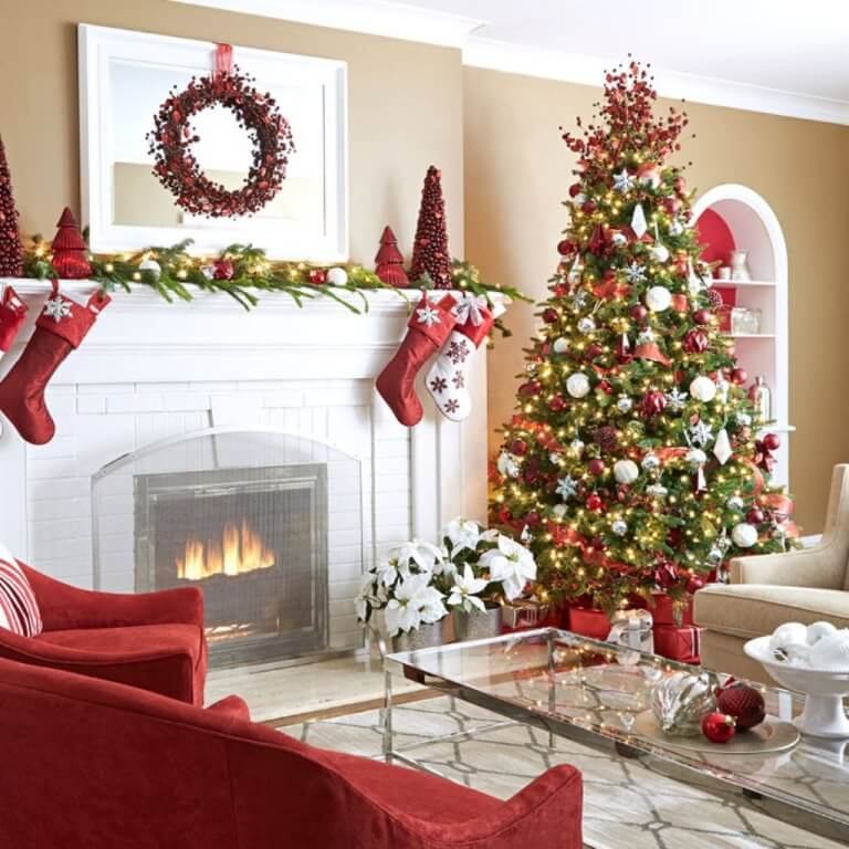 Red Theme Christmas Tree Decorations
