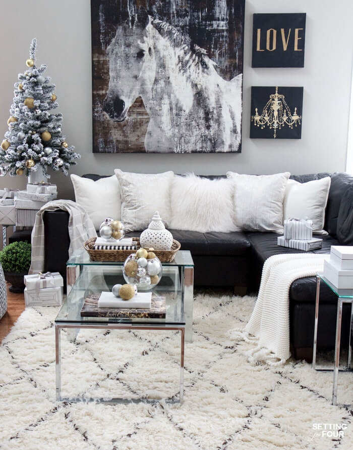 White Gold Silver Family Room