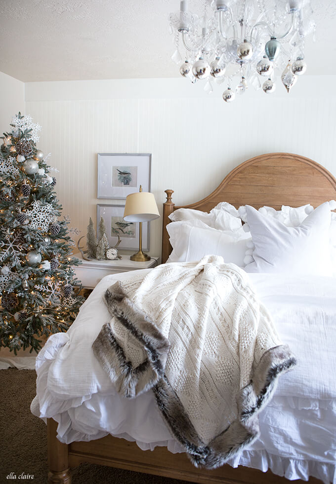 Bedroom Christmas Decor Silver White