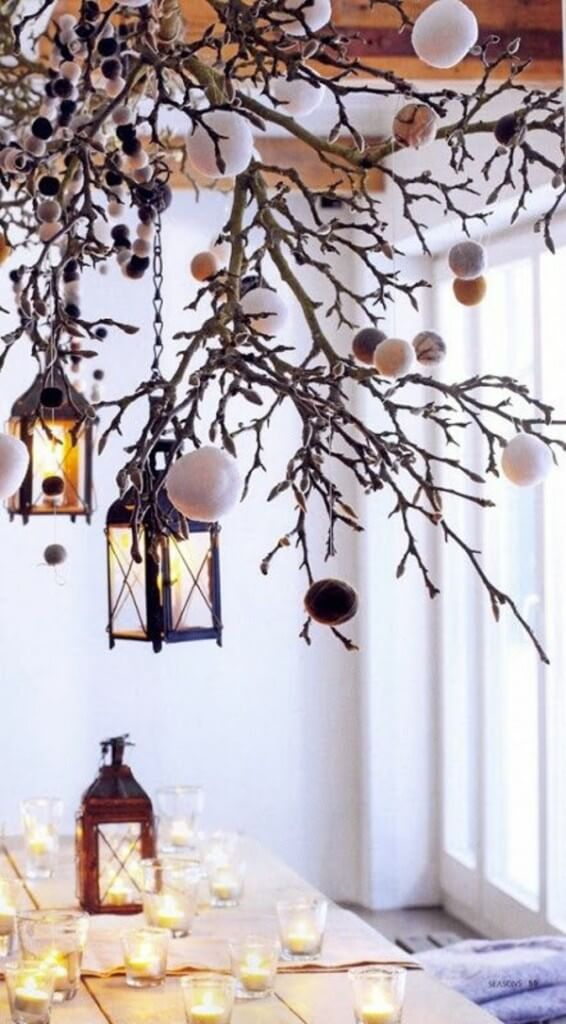 Dinner Table Christmas Lanterns Decor