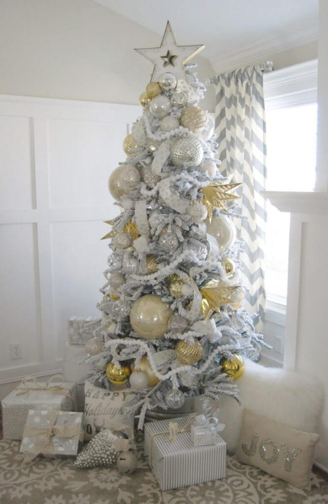 Fancy Gold White Silver Tree Decor