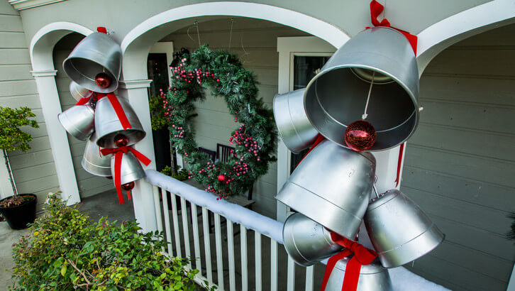 Giant Holiday Bells Porch Decor