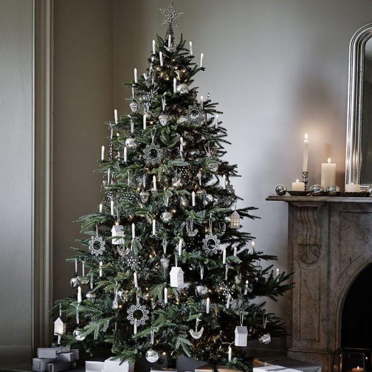 modern silver white christmas tree