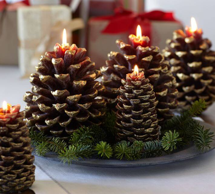Pinecone Candles Christmas Centerpieces