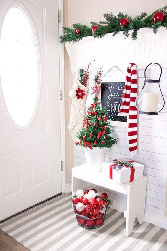 Red White Modern Christmas Entryway