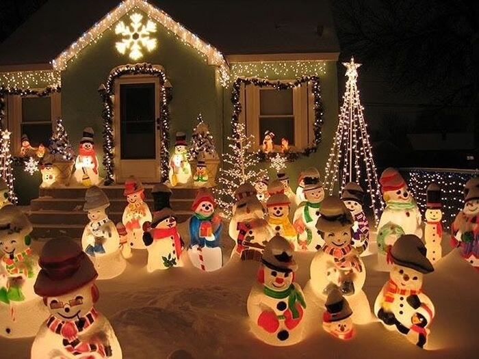 Snowman Lights Christmas Yard Decor