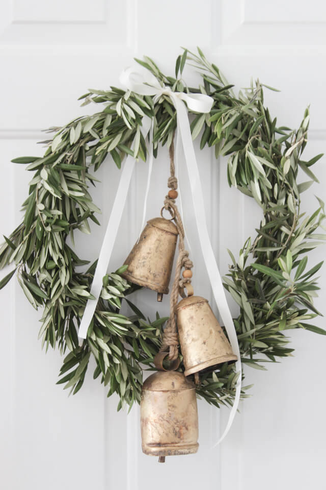 Wreath With Bells Door Decor