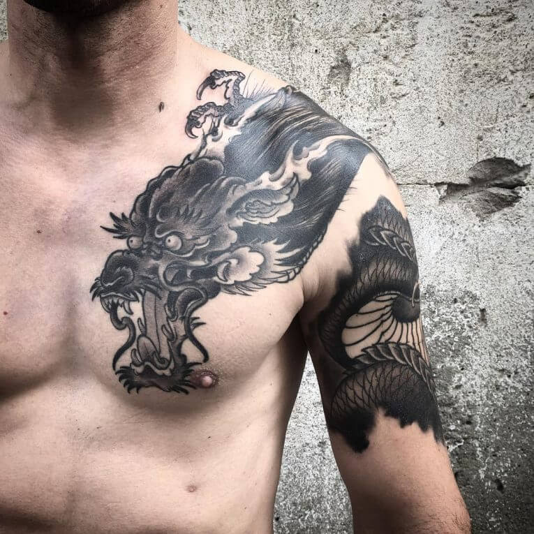 Chest Dragon Tattoo