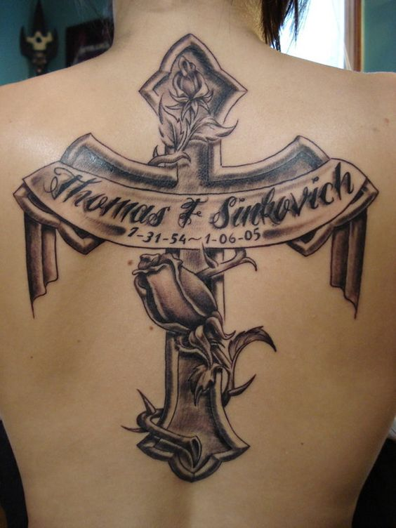 Cross Tattoo With Names