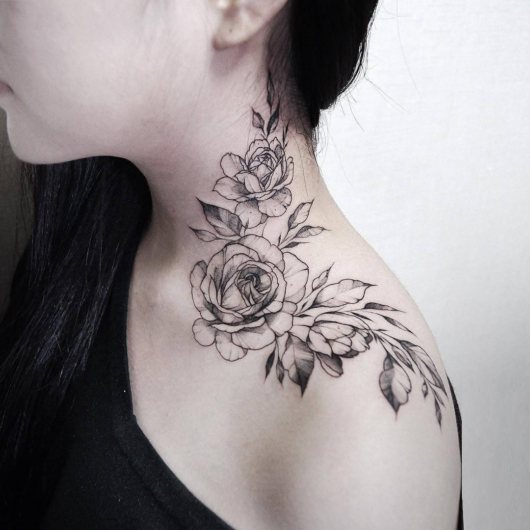 Collarbone Rose Tattoo