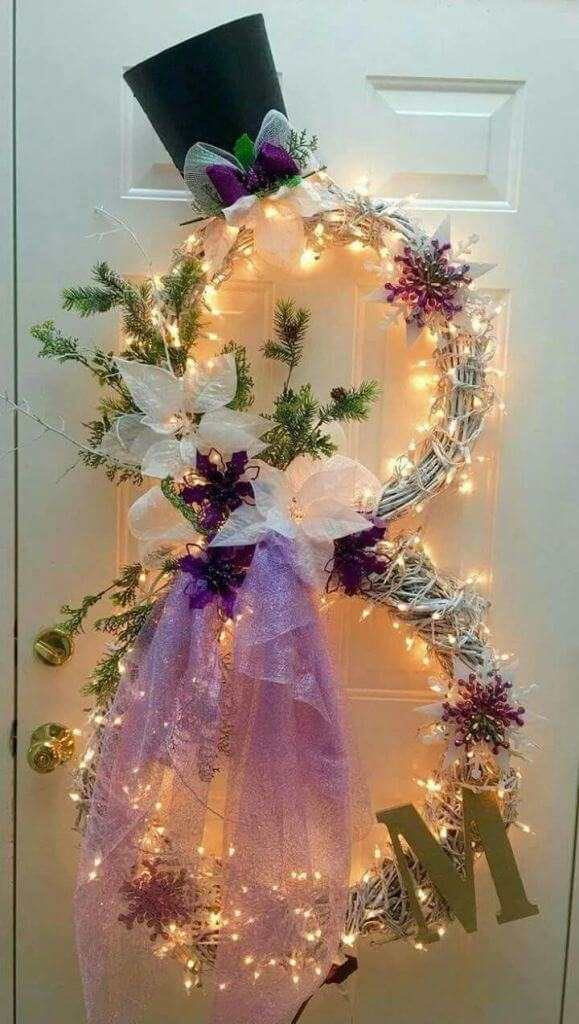 Front Door Wreath Lights Decor