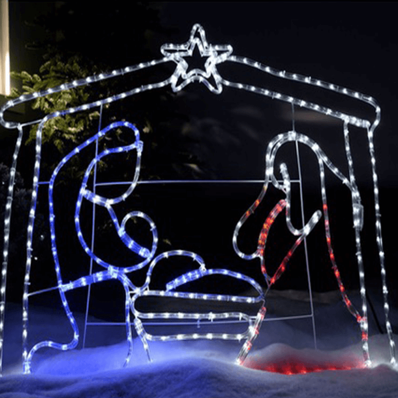 Nativity Scene With Lights Silhouettes