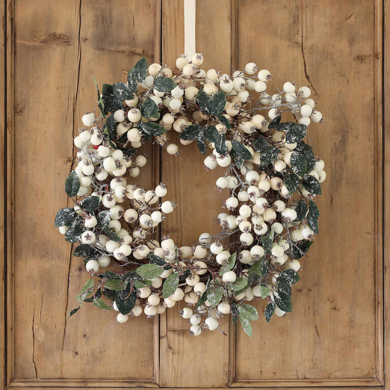 White Cranberries Christmas Wreath Decor