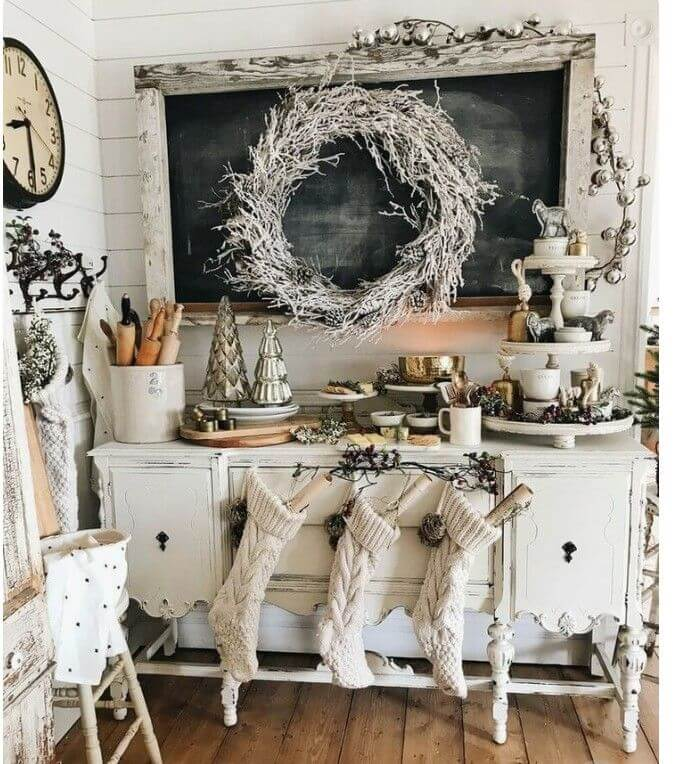 White Kitchen Table Christmas Display