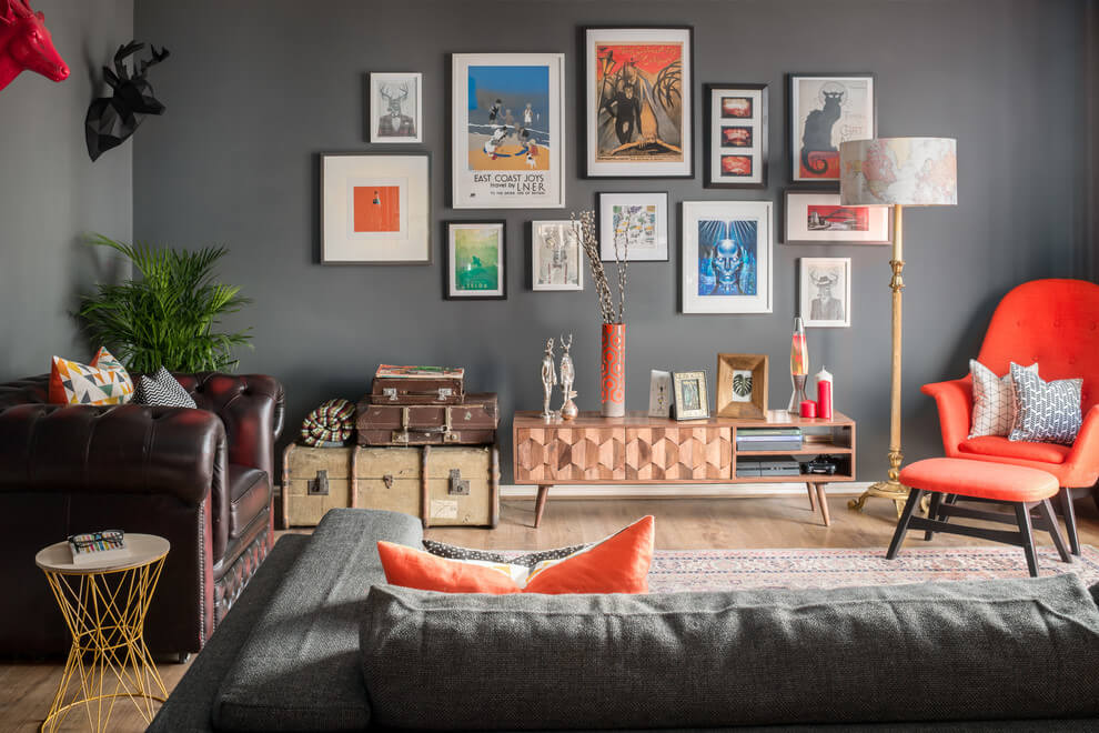 Funky Eclectic Dark Living Room Design