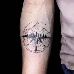 Compass and Mountain Tattoo Design